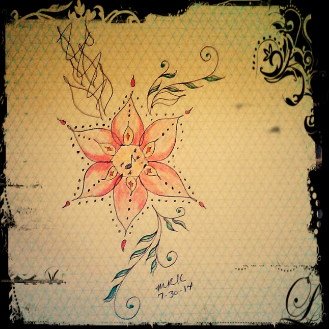 I doodle a good bit. I doodled this design for my next tattoo. You can see where I made some obvious mistakes. I used a pen. ;)