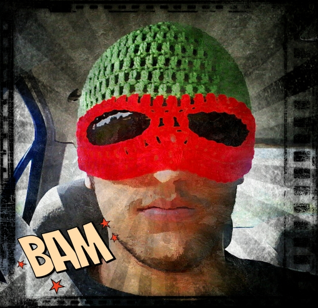 Our Second Son (he's sort of been grafted in to our family) sent me this self-portrait of his new hat. Another dear family member (Ms. Charlotte Cornez) crocheted the hat (Teenage Mutant Ninja Turtle Raphael). I had fun with this edit and used more of the options Pixlr Express has to offer. I'm so loving this shot. Please keep Randy and his Lady Fair in your thoughts and prayers as he heads out to join the Navy and serve our country. We love you, Randybob!