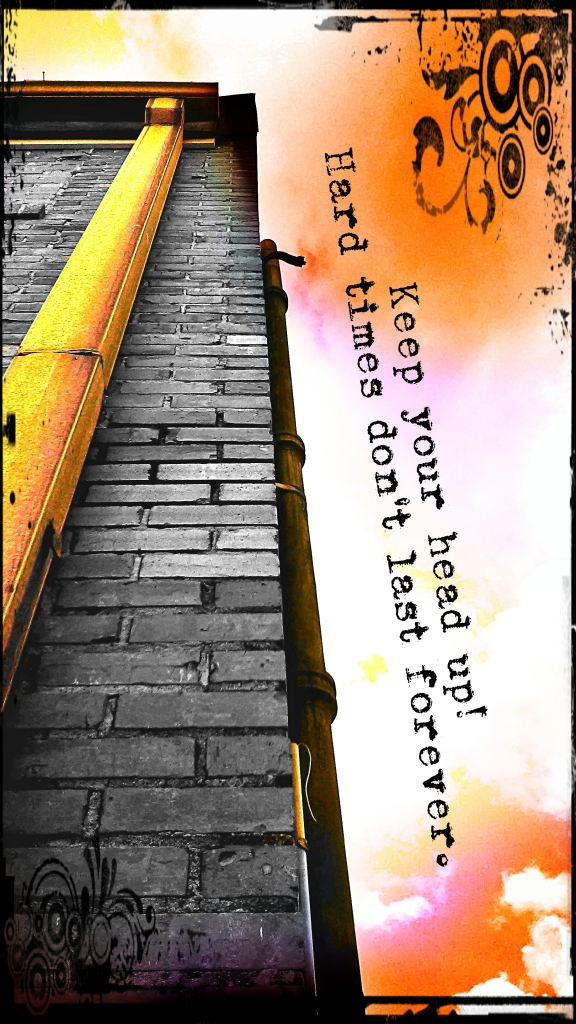 I made this to encourage us to continue working hard to make this play the best. I had a lot of fun playing with the color and the the typography effects on this photo. I took an upshot of the corner of a building next to our theater. It's something I'd really like to do more of...making little encouragement or quote photos of my own. I've always been interested in that.