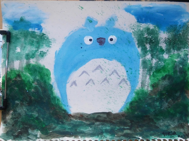 Today's art challenge was to draw something from your favorite movie. Totoro just pushed everything else out of my mind so I guess he wanted to be drawn today. I did draw it before I painted it...freehand. Yea, me! This is a major victory, even though it may not look like it to you.