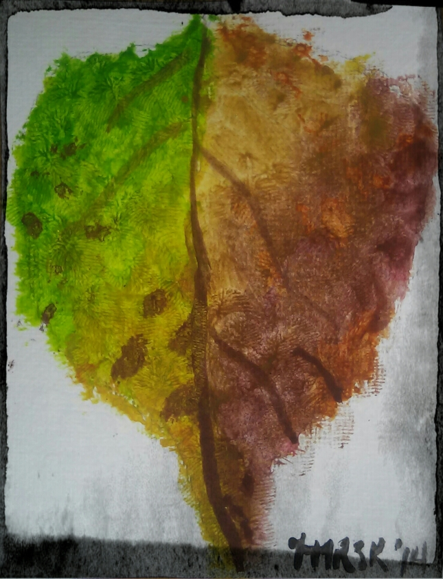 """Today's art challenge was """"Autumn"""". I chose to paint a persimmon leaf which had fallen off my dad's tree. It's better than previous attempts of like kind so I'm counting this as a victory."""