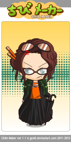 I used Chibi Maker to create this little character of myself. This is probably the one I'll use as reference to draw/paint a picture of myself later today. Clicking the photo will take you to ChibiMaker and you can have fun creating your own little chibi!