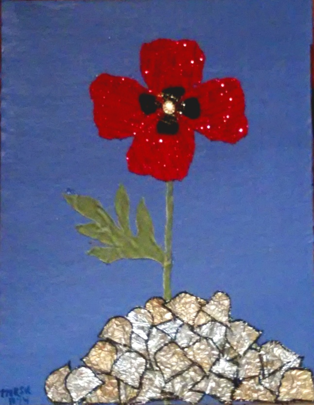 """A Poppy For Remembrance"" - mixed media artwork by Melody Kittles - For more info, click the photo to go to my deviantART page. You can read all the info there. No download or prints are available for this artwork. The photo came out much too blurry for that. I'll work on getting a better photo as soon as I'm able."