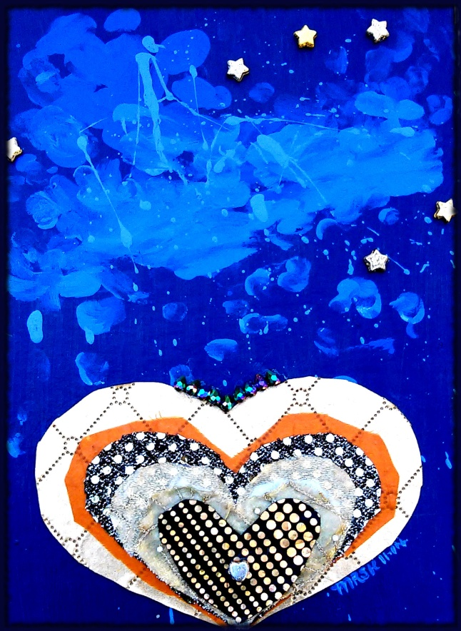 """Angel Hearts"" - mixed media artwork in acrylic paints, fabrics and glass and plastic beads by Melody Kittles - For more info click the photo to go to my deviantART page. You can download a digital copy for personal use only, or purchase an art print if you like."