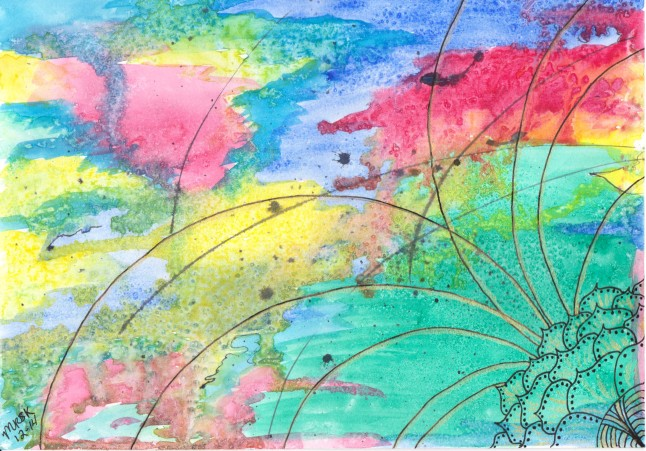"""""""Gilded Blessings"""" - Mixed Media artwork by Melody Kittles - watercolor, acrylic, ink - For more info, please click the photo to go to my deviantART page."""