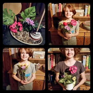 These are our attempts at Ikebana, the Japanese art of flower arranging. It really isn't that easy!