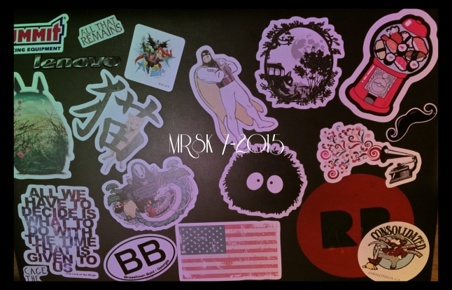 This is my laptop. 11 of these stickers are from Redbubble and the rest are from different places I've visited or gathered from shopping excursions. I love collecting stickers!