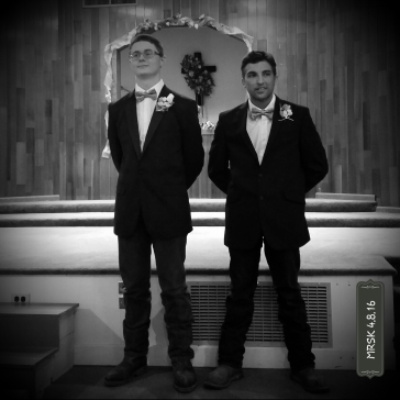 Our Sons - Photo by Melody Kittles - I managed to catch this photo before the other grooms-people got to their places.